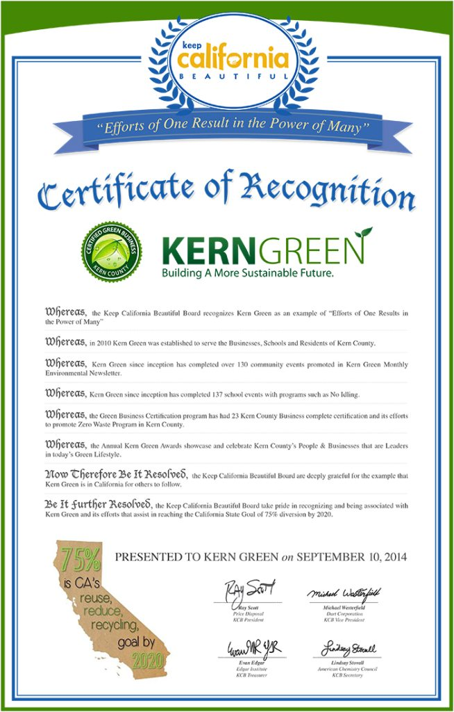KCB Certificate of Recognition Awarded to KernGreen