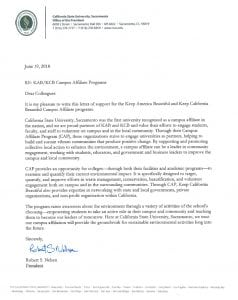 Sacramento State Letter of Support